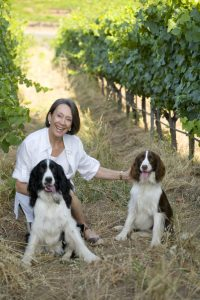 Nyhed: Marimar Torres i vinmarken med sine to springer spaniels.